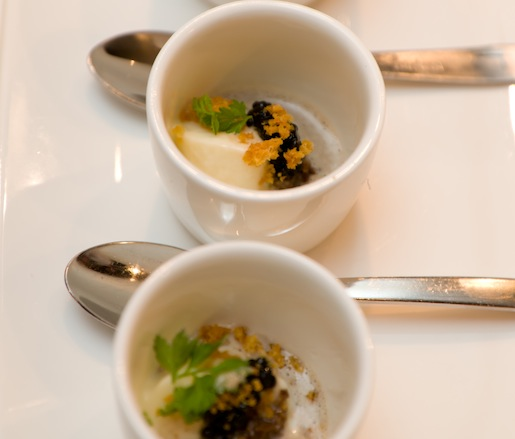 Cauliflower Panna Cotta with Georgia Caviar and Preserved Georgia Pecan Truffles