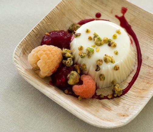 Claudia Fleming's GODIVA chocolatier white chocolate–lemon thyme panna cotta with raspberries