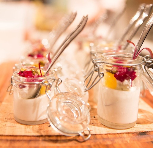 Yogurt–Goat Cheese Panna Cotta with Roasted Heirloom Beets, Candied Pistachios, and Smoked Sea Salt