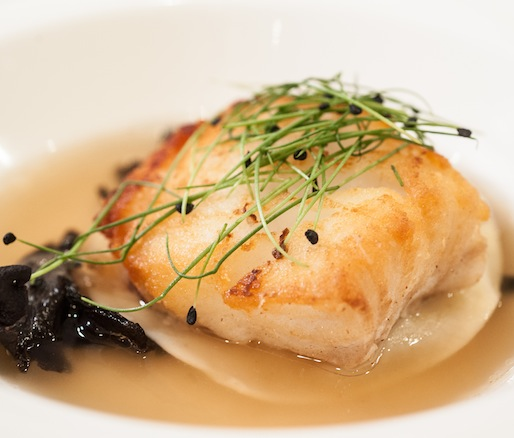 Swabian Parsnip–Stuffed Pasta with Cod, Black Trumpet Mushrooms, and Smoked Duck Broth