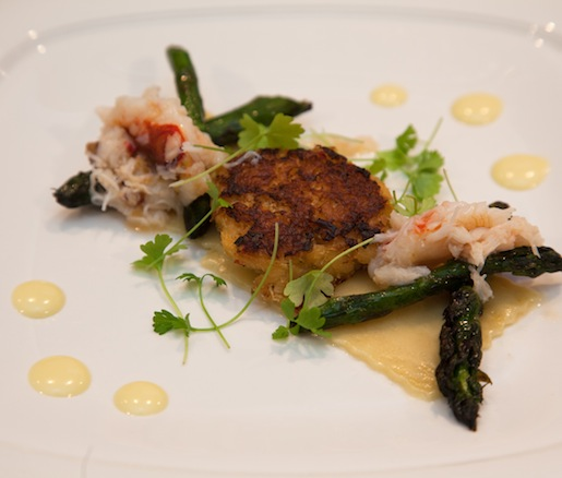 Pasta Handkerchiefs with Dungeness Crab, Grilled Delta Asparagus, Lemon, Truffles, and Soy
