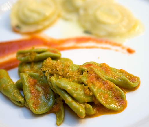 Handmade Foglie d'Olivo Pasta with Bread Crumbs and Caciocavallo-Filled Ravioli with Butter and Sage