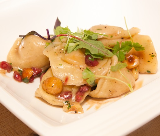 A Taste of Two Pastas > Roasted Sweet Potato Tortelloni with Hazelnuts, Pomegranate, and Beurre Noisette; and Hand-Rolled Orecchiette with Oxtail, Trotter, and Tripe Ragù