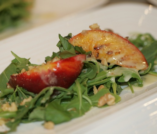 Grilled Peaches with Rocket, Walnuts, and Basil