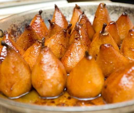 A pan of pears before plating