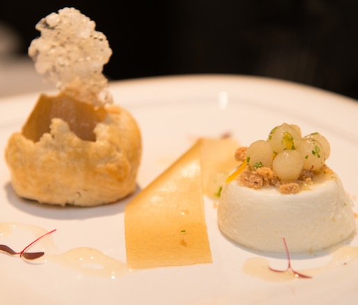 Compressed Pear Tart with Sheep's Milk Yogurt Flan, Shortbread, Honeycomb Fluff, and Caramelized Popping Sorghum