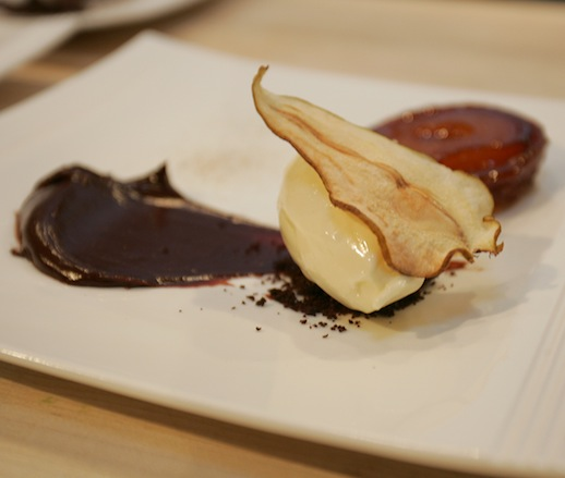 Pear Tarte Tatin with Dark Chocolate and Cardamom Ice Cream