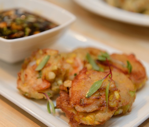 Pergedel Jagung > Shrimp–Corn Fritters with Scallions and Sweet Soy Sauce