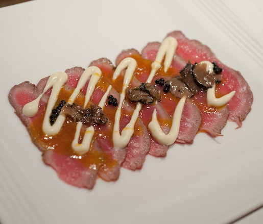 Alpaca Carpaccio with Liquefied Potatoes, Ají Amarillo Dressing, and Truffles