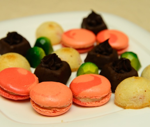 Petits Fours > Lemon–Basil Bonbons, Peach–Saffron Macarons, Madeleines, and Apricot Financiers