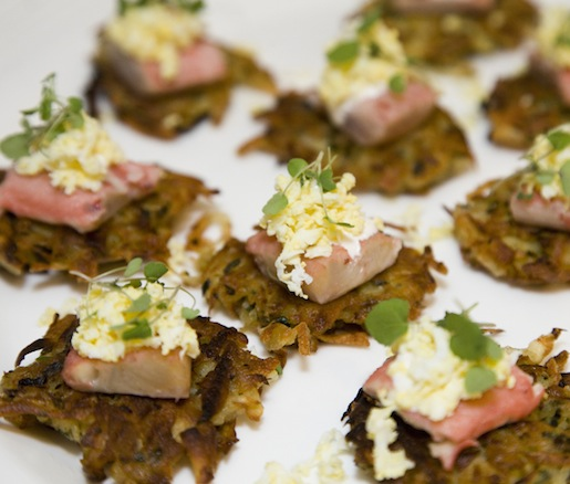 Pickled Trout with Chopped Eggs on Potato–Parsnip Latkes