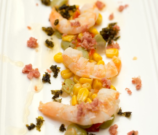 Pickled Shrimp with Succotash, Country Ham, Mustard Greens, and Brown Butter