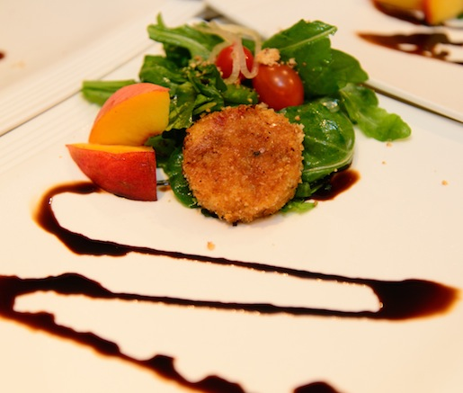 Pimento Cheese Croquette with Smoked Chicken, Romaine Chiffonade, Heirloom Tomatoes, and Smoked Tomato Vinaigrette