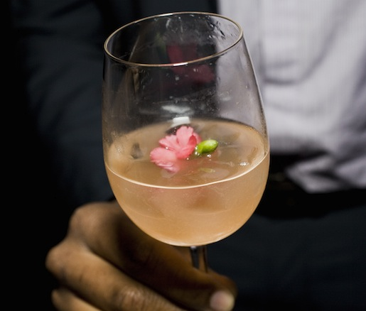 Pink Pansy Party > Combier Rouge with Sake, Sparkling Wine, Lemon Chiffon–Citrus Float, and Edible Flowers