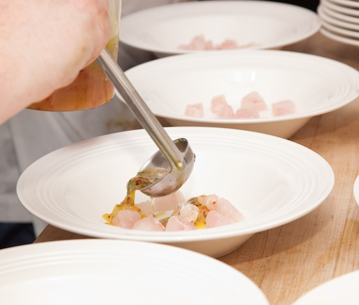 Plating ceviche in the Beard House kitchen