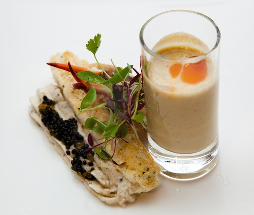 Rich Girl Po' Boy > Savory Blue Crab Ladyfinger with Blue Crab Mousse, Cajun Bowfin Caviar, Louisiana Softshell Crab Bisque Shooter, and Citrus-Marinated Crab Claw Fingers
