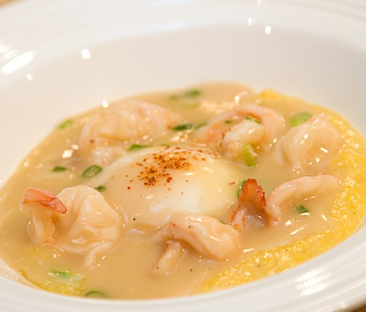 Anson Mills Fino Polenta with Shrimp Gravy and Poached Egg