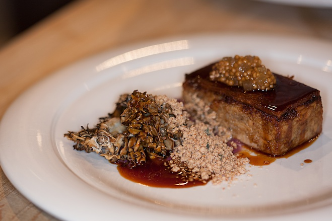 St-Canut Farms Porcelet with Braised Red Cabbage, Chanterelles, and Hazelnuts