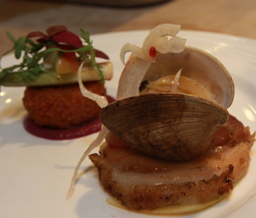 Ibérico Porchetta with Grilled Clams, Citrus, Brawn Croquette, Heirloom Apples, and Baby Leek–Cabbage Vinaigrette