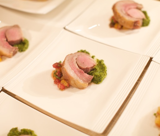 Porchetta with Heirloom Tomato Relish and Roasted Poblano Pesto