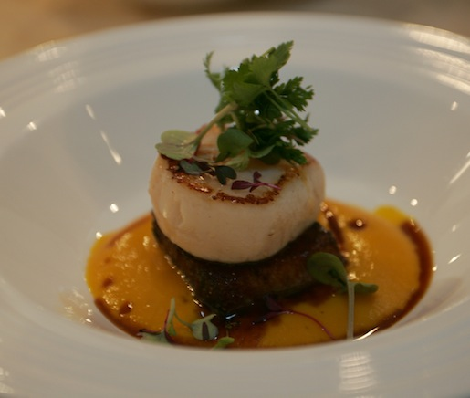 Farmhouse-Cured Pork Belly and Seared Scallop with Cardamom–Carrot Purée and Pork Caramel