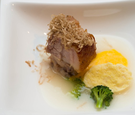 Parmesan Pork Belly with Hen Egg and Broccoli