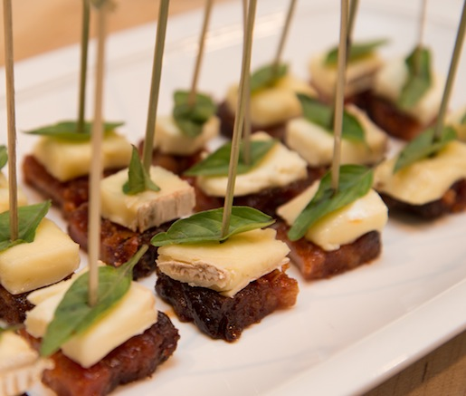 Bourbon-Braised Pork Belly with Brie and Thai Basil Crisps