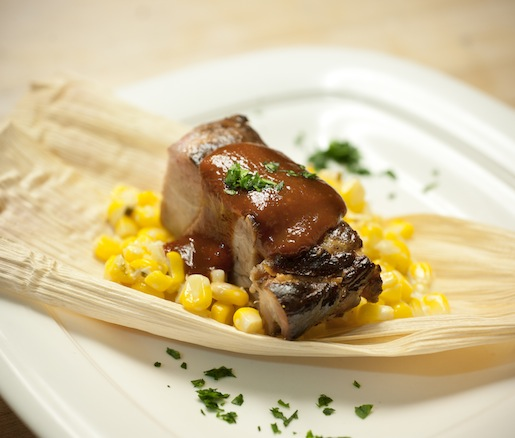 Berkshire Pork Burnt Ends with Grilled Sweet Summer Corn
