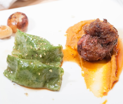 Head-to-Toe Pork > Pork Cheeks with Benton's Bacon Jam, Butternut Squash Purée, and Pork Trotter Tortellini