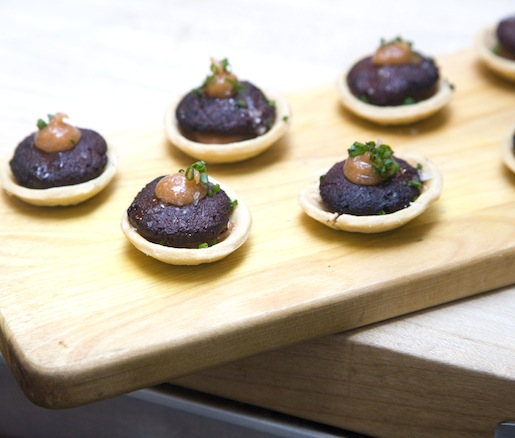 Pork Fat Tarts with Blood Sausage and Quince