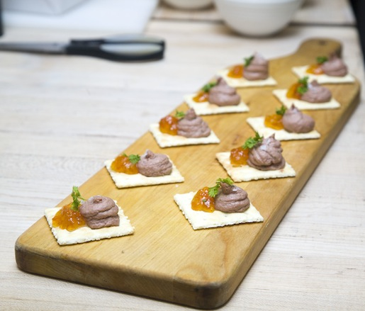 Pork Liver Pâté with Peruvian Pepper Jelly and Saltine Crackers