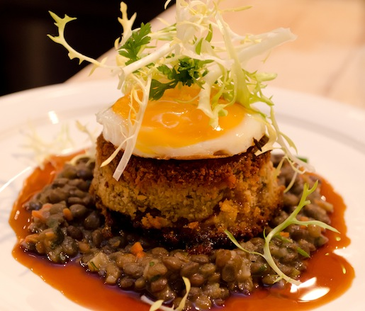 Galette de Pied Cochon, Lentilles du Puy, et Jus Madere > Pork Trotter with French Lentils, Sunny-Side-Up Egg, and Madeira Sauce