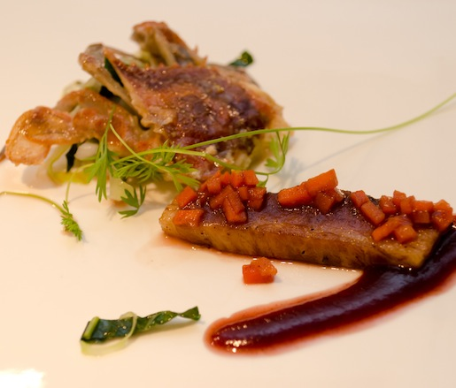 Softshell Crab with Glazed Pork Belly and Sauce Gribiche