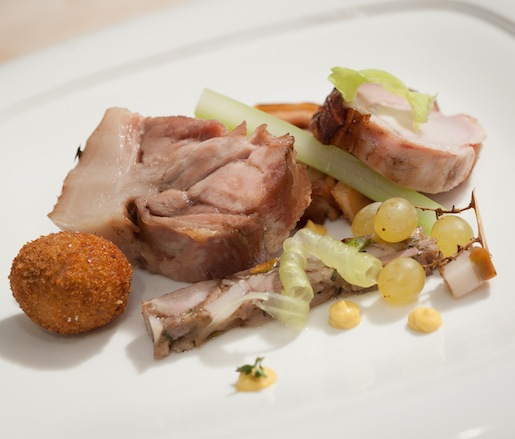 Colorado Newsham Pork > Mortadella di Testa, Shoulder Confit, Milk-Poached Loin, Crispy Belly, and Trotter–Tail Croquette with Apple and Celery Variations and Mustard