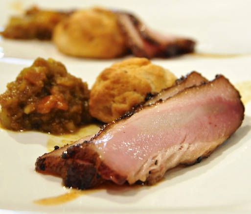 Apple Cider–Glazed Pork Belly with Biscuits and Pear Compote