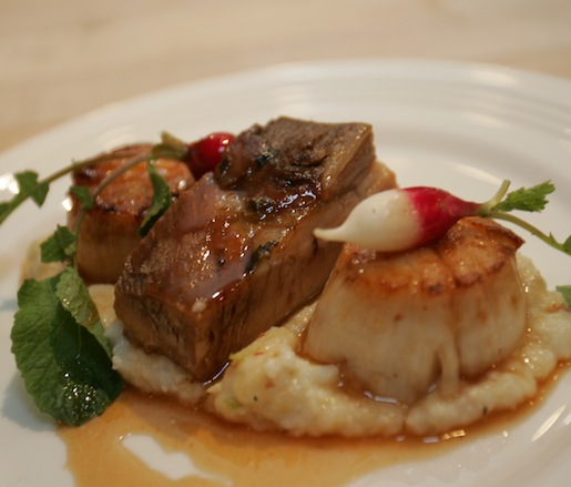 Brasstown Pork Belly with Sea Scallop, Anson Mills Grits, Apples, Radishes, and Cider Honey