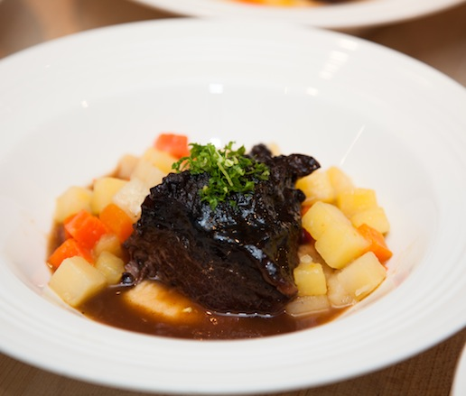 Yankee Pot Roast with Beef Cheeks, Root Vegetables, and Gremolata
