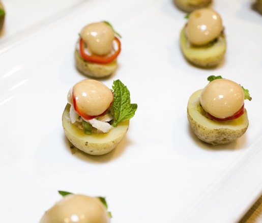 Fingerling Potatoes with Jonah Crab, Fresno Chiles, Mint, and Crab Emulsion