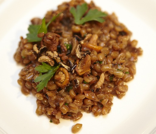 Spelt Risotto with Herbs, Chanterelles, Puffed Grains, and Kale Juice