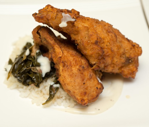 Smoked and Southern Fried Poussin with Carolina Plantation Rice, Collard Greens, and White Gravy