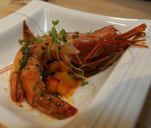 Roasted Maya Prawns with Coriander Salsita, Garlic, Yellow Tomatoes, and Red Pepper Gazpacho