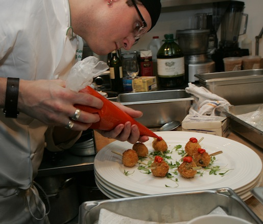 Finishing Cod-Olive Fritters in the Beard House kitchen