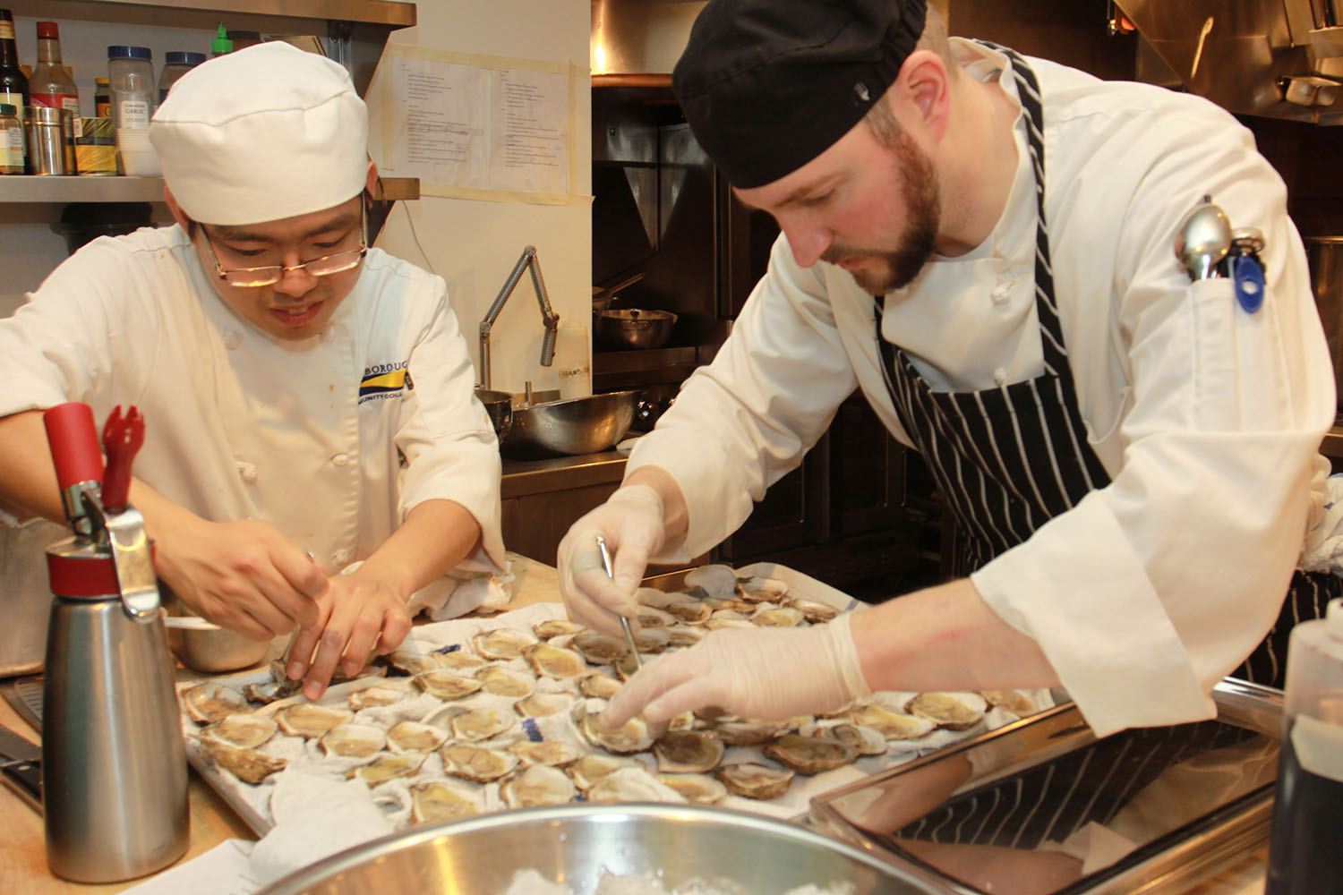 Preparing oysters in the Beard House kitchen