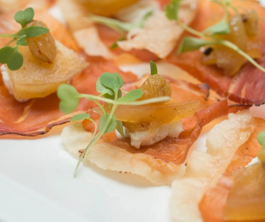 Prosciutto Crisps with Goat Cheese, Apple, and Wild Arugula