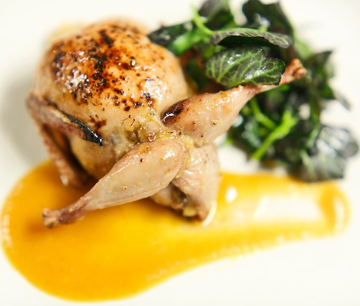 Roasted Stuffed Quail> Foie Gras, Grilled Peaches, Cornbread Filling, Purple Watercress, and Peach Barbeque Sauce