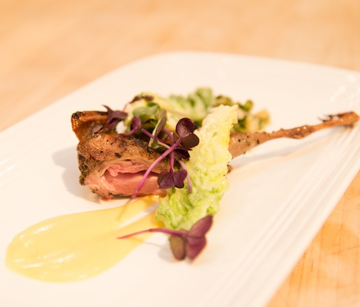 Grilled Vermont Quail with Lemon Emulsion and Pickled Ramps