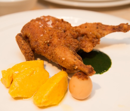 Fried Quail with Nettle Sauce, Carrot Dumplings, and Pickled Quail Egg