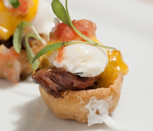 Beef Cheek and Quail Eggs Benedict with Chorizo Hollandaise and Crispy Masa