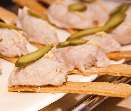 Rabbit Rillettes with Mustard and Cornichons on Rosemary Crackers