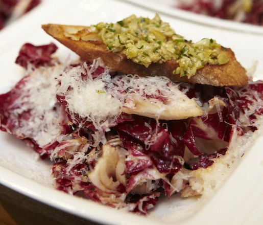 Radicchio Salad with Manchego and Green Olive Tapenade